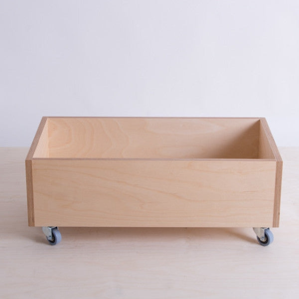 plywood storage box on wheels