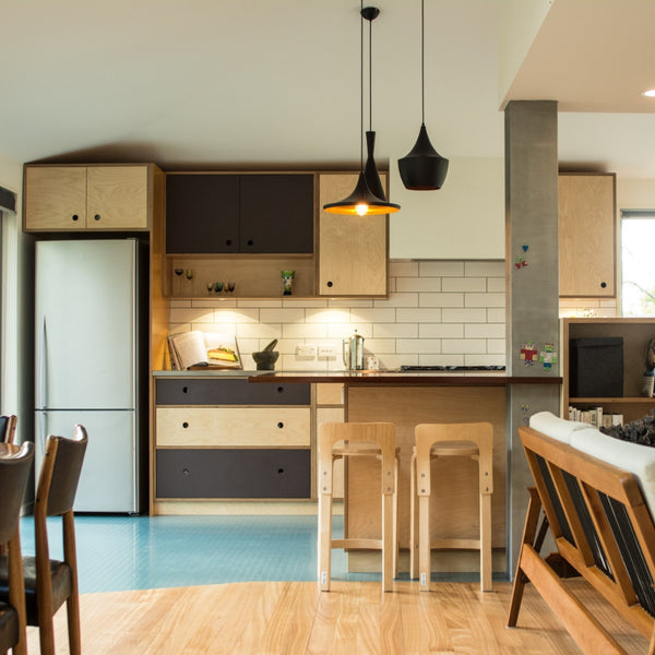 Retro style plywood kitchen