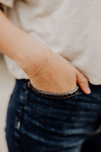 Melany Ball Chain Dainty Gold Filled Bracelet
