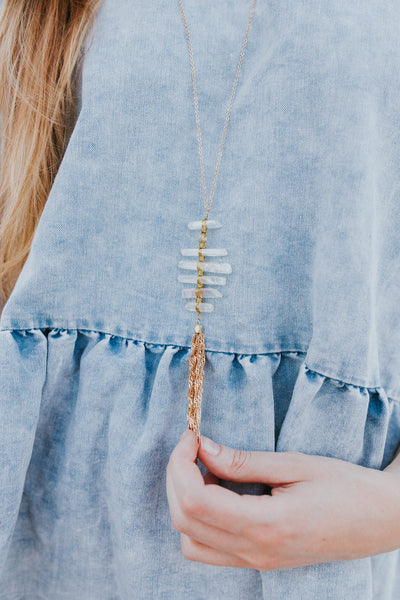 Jilly Quartz Ladder Necklace