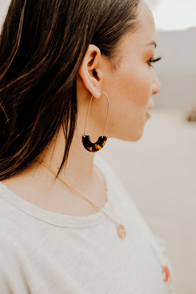 Tully Tortoise Long Hoop Earrings