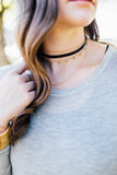 Suede Choker with Three Chains