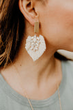 Stacia Raffia Long Crystal gemstone fan Earrings || Darleen Meier Jewelry