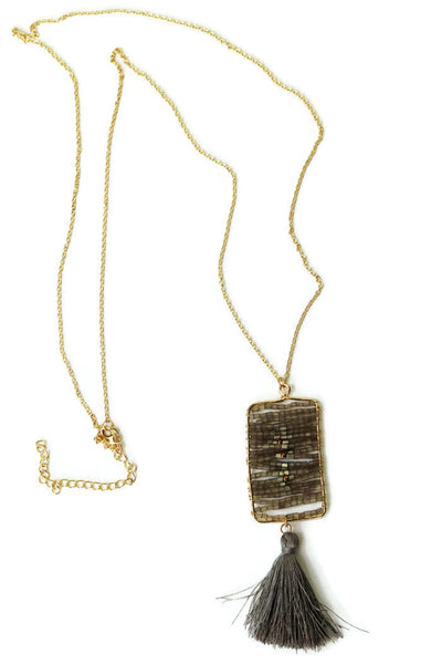 Beaded Rectangle Pendant with Tassel Long Necklace