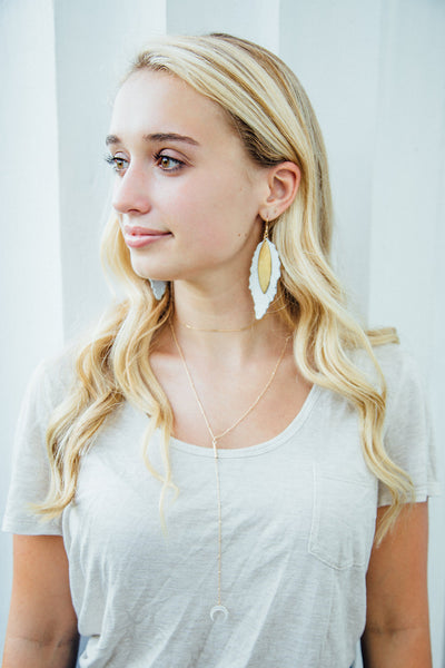 Lyle Leather Feather Brass Earrings