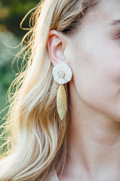 Rachel Raffia Marquise Brass Earrings