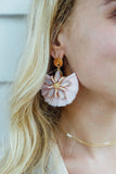 Stacy Raffia Starburst Gemstone Fan Earrings