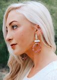 BEA CIRCLE DANGLE EARRINGS with seed beads and mother of pearl || Darleen Meier Jewelry