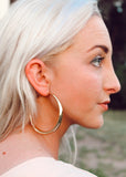 Tifa Large Gold Plated Hoop Earrings Side View on Model || Darleen Meier Jewelry