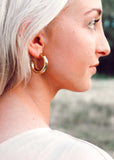 Payton Half Hoop Gold Plated Small Earrings || Darleen Meier Jewelry