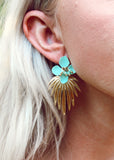 Palm Gold Plated Leaf with Turquoise Flower Acrylic Stud Earrings || Darleen Meier Jewelry