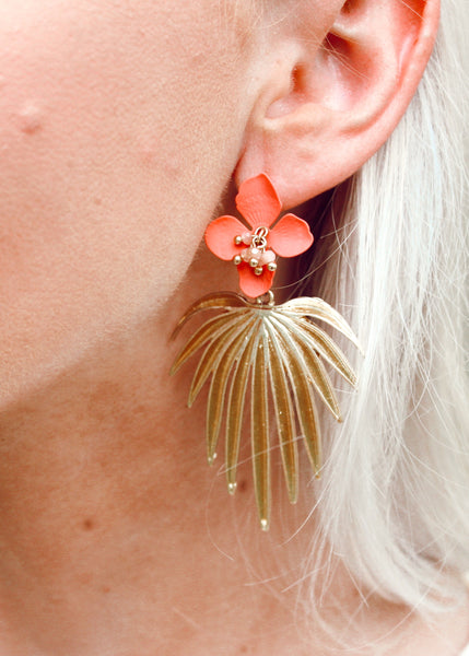 Palm Gold Plated Leaf with Coral Flower Acrylic Stud Earrings