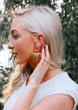 Palm Gold Plated Leaf with Coral Flower Acrylic Stud Earrings on model|| Darleen Meier Jewelry
