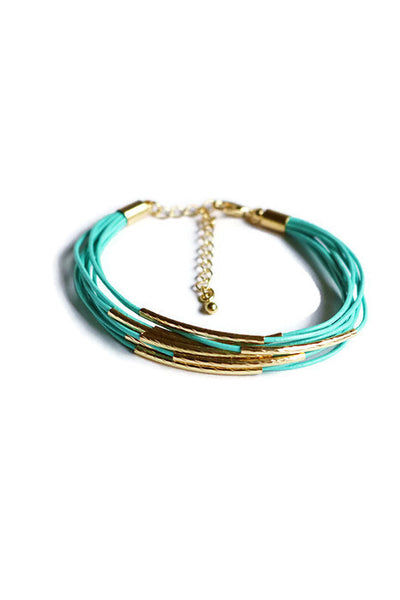 Metal Bar Multi Cord Bracelet