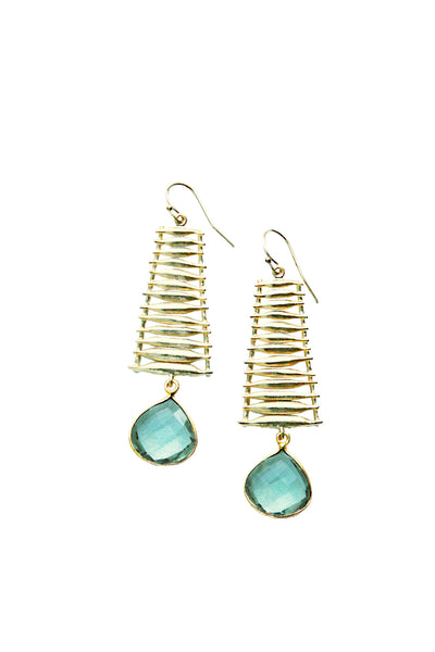 Ladder earrings gold with glass stone