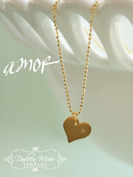 Gold Heart Necklace with Diamond