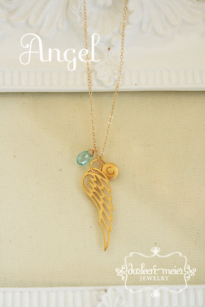 Gold Angel Wing Necklace Personalized with Birthstone and Initial