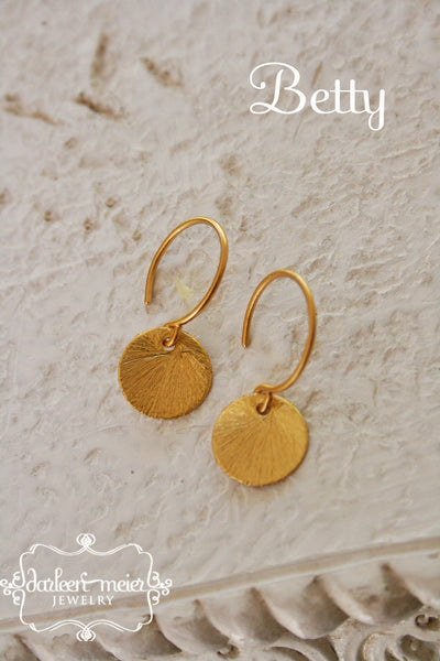 Small Round Gold Disc Earrings