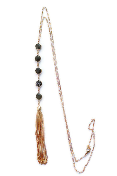Billie Black Circle Quartz Disc Long Tassel Chain Necklace