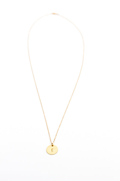 Long Initial Necklace Gold Disc