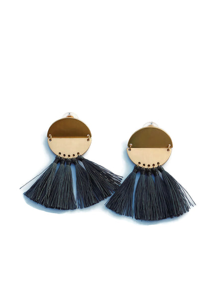 Circle Half Moon Tassel Earrings