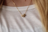 Two Gold Block Letters Necklace with Ampersand