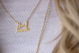 Best Friend script necklace gold