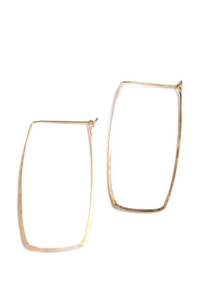 Rectangle Hoop Earrings Hand-Forged Hand-Hammered