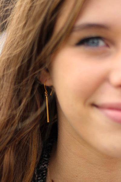 Gold Short Bar Earrings