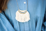 Thread Fringe Bib Necklace