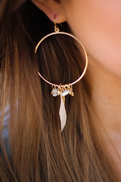 Feather Circle Bead Earrings
