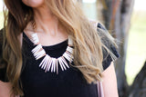 Spiked White Turquoise Bib Necklace