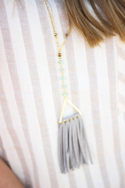 Suede Fringe Triangle Necklace