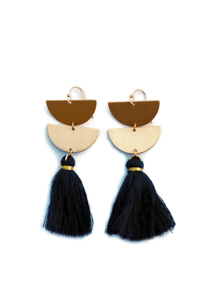 Double Half Moon Tassel Earrings