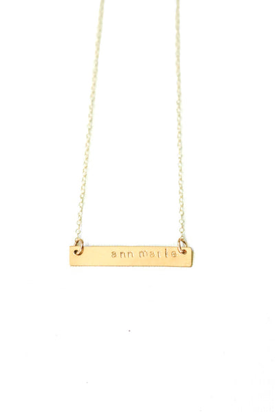Stamped Gold Bar Necklace