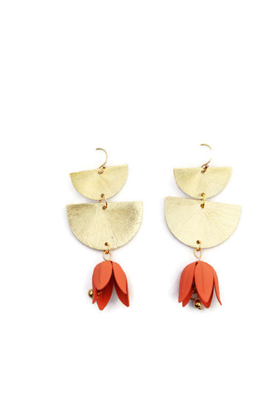 FLORA FLOWER BELL DANGLE EARRINGS Coral