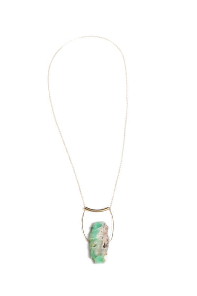 Blue Green Slice Agate Stone Necklace