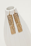 Rectangle laser cut mesh geometric gold earrings | Darleen Meier Jewelry