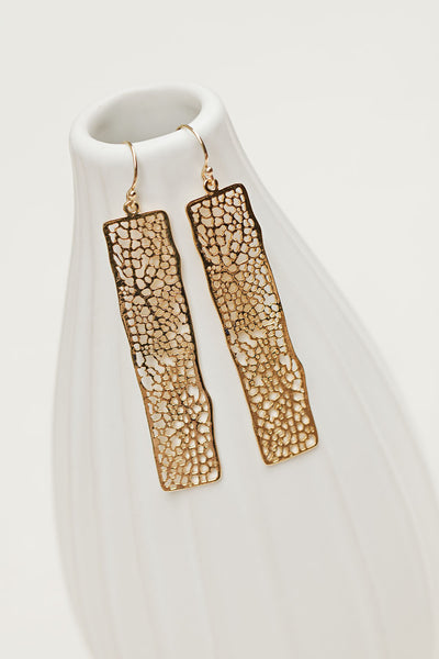 Rectangle laser cut mesh geometric gold earrings
