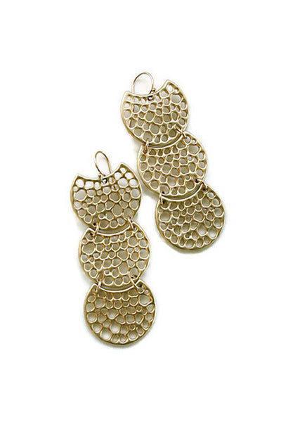 Half-moon earrings gold chandelier earrings
