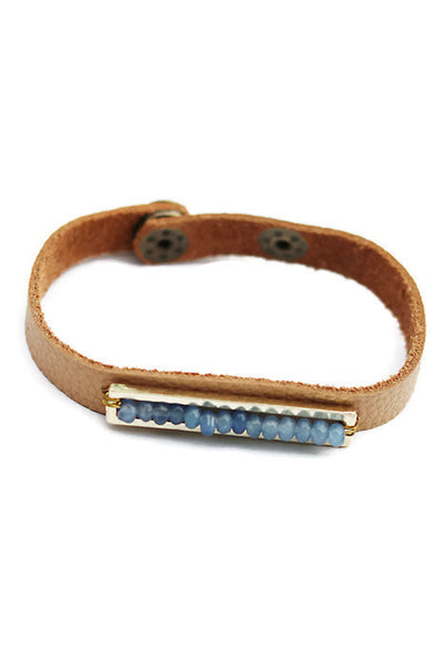 Leather Bracelet with Tiny Beads