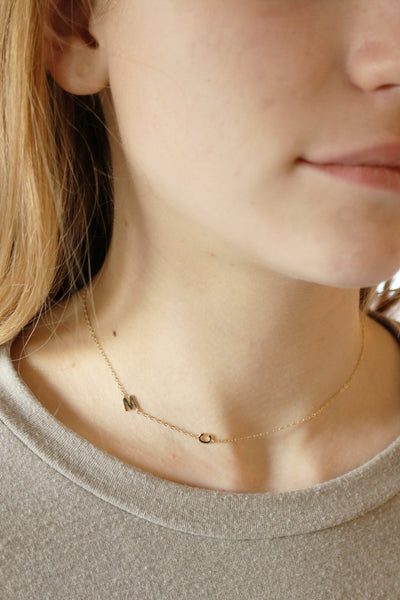 Gold Tiny Letter Necklace