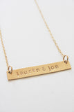 Stamped Gold Bar Necklace with Names