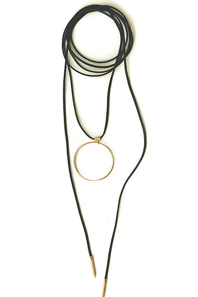 Large Drop Circle Suede Lariat
