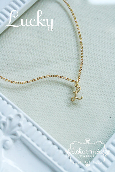 Letter charm necklace script cursive Initial Personalized Necklace