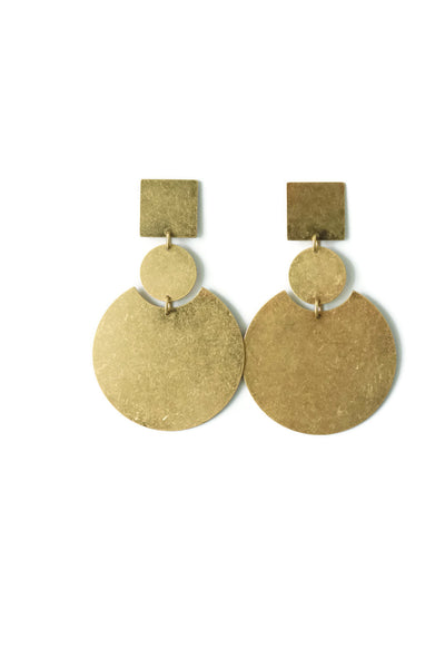 Jamison Geometric Brass Earrings