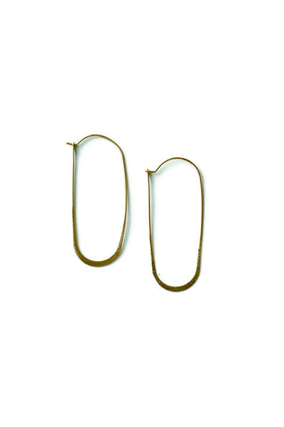 Oblong Hammered Gold Earrings