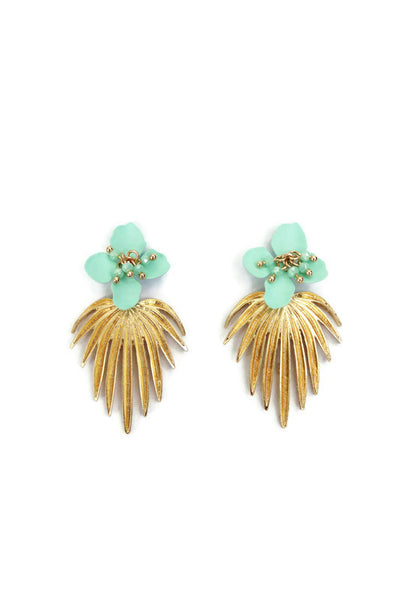 Palm Gold Plated Leaf with Turquoise Flower Stud