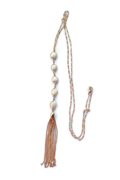 Billie Pearl Disc Long Tassel Chain Necklace