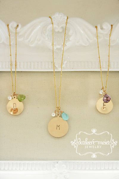 Gold Initial Birthstone Necklace